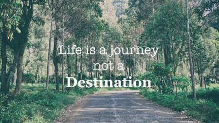 Photo for Inspirational motivation quotes - Life is a journey not a destination on retro nature background - Royalty Free Image