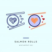 Sushi setOutline and color web icons in two style variations Vector