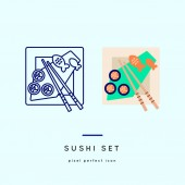 Sushi set Outline and color web icons in two style variations