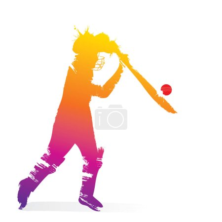 abstract cricket player design by brush stroke on white background