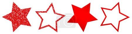 Set aus vier roten Sternen funkelt und leuchtet