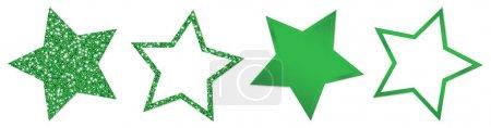 Set aus vier grünen Sternen funkelt und leuchtet