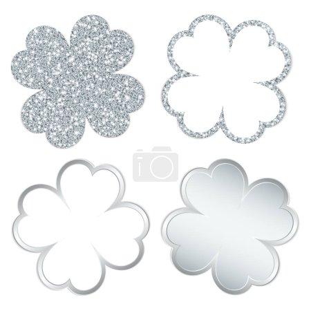 Viereckiges Set aus vier Kleeblättern, die silbern glänzen und funkeln
