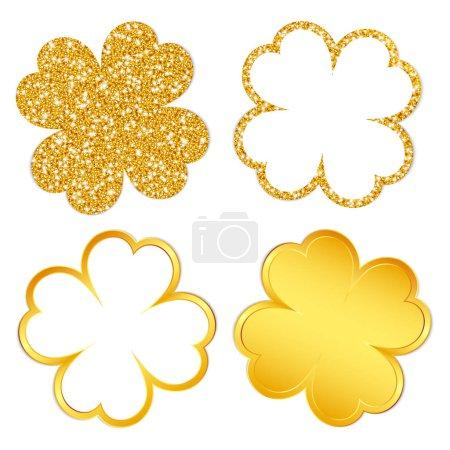 Viereckiges Set aus vier Kleeblättern, funkelnd und gold glänzend