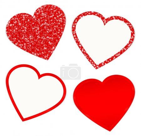 Viereckiges Set aus vier roten Herzen, die funkeln und leuchten