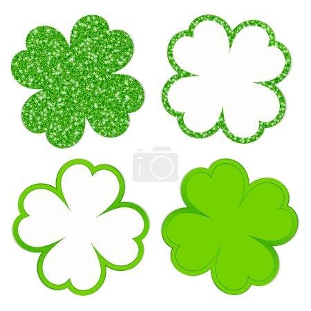 Viereckiges Set aus vier Kleeblättern funkelnd und leuchtend grün