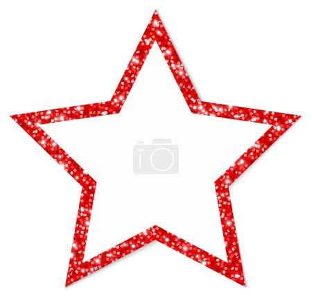 einzelner roter Sternenrahmen funkelt und leuchtet