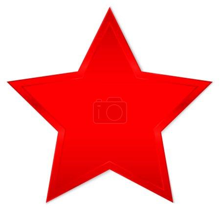einzelner isolierter rot leuchtender Stern mit Schatten