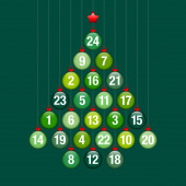 Advent Calendar Abstract Tree Of Hanging Glossy Christmas Baubles Green And Red