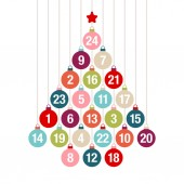 Advent Calendar Christmas Tree Of Hanging Colorful Christmas Baubles