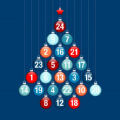 Advent Calendar Abstract Tree Of Hanging Glossy Christmas Baubles Blue And Red