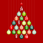 Abstract Tree Advent Calendar Of Hanging Glossy Christmas Baubles Red And Green