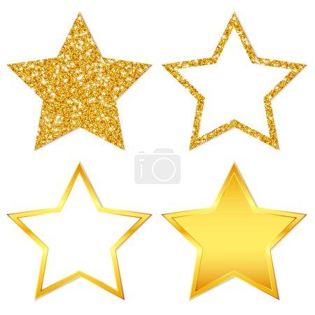 quadratische Set von vier goldenen Sternen funkelnd und glänzend