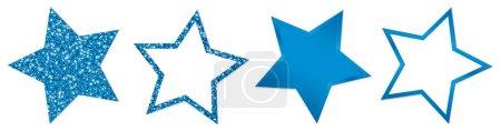 Set von vier blauen Sternen funkelt und leuchtet
