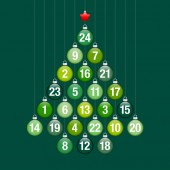 Advent Calendar Abstract Tree Of Hanging Glossy Christmas Baubles Green And Silver