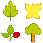 Set of four nature icons in flat style