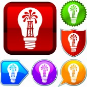 Set shiny icon series on buttons Lightbulb oil