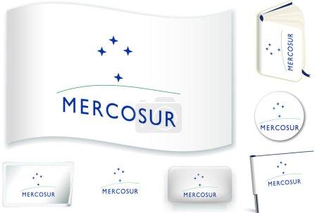 Mercosur flag. Vector illustration. 3 layers. Shad...