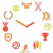 Sport time Activities icons in a watch sphere with hours