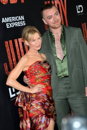 """Photo for LOS ANGELES, USA. September 20, 2019: Renee Zellweger & Sam Smith at the premiere of """"Judy"""" at the Samuel Goldwyn Theatre - Royalty Free Image"""