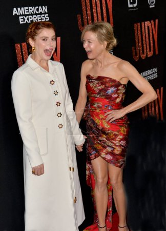 """Photo for LOS ANGELES, USA. September 20, 2019: Jessie Buckley & Renee Zellweger at the premiere of """"Judy"""" at the Samuel Goldwyn Theatre - Royalty Free Image"""