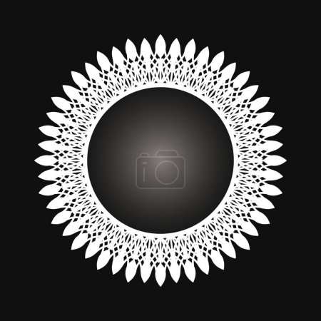 Illustration for White frame with lace ornament in circle on black background. Art deco. Luxury round mandala, hand draw design. Ethnic motif. Abstract vector illustration.Template design for invitation, poster, card. - Royalty Free Image