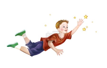 Photo for Boy flying in dream on white background - Royalty Free Image