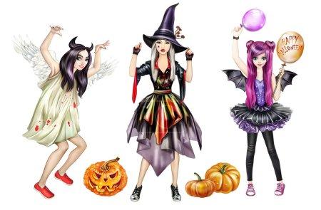 Photo pour Fête d'Halloween, belles filles en costumes de sorcières et mauvais esprits, Toussaint, citrouilles et ballons, poupées en papier, personnages isolés sur fond blanc - image libre de droit