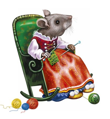 funny mouse sits in a rocking chair with knitting in hand, a cartoon animal knits from colored balls of thread, a warm cozy place, an isolated character on a white background