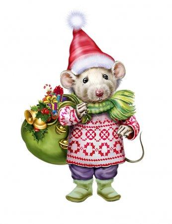 Photo pour Illustration de rat habillé en Père Noël avec sac de cadeaux, symbole du Nouvel An, personnage isolé sur fond blanc - image libre de droit