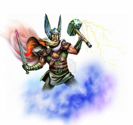 Wikingergott mit Hammer, Krieger mit Schwert, Donner und Blitz, isolierter Charakter auf weißem Hintergrund