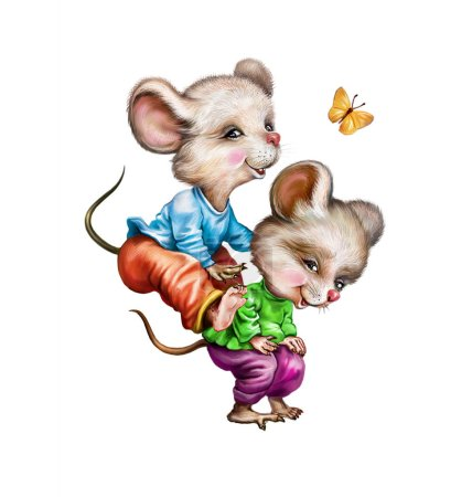 Photo for Funny two mice playing, jumping with butterfly, joyful animals in clothes, isolated characters on white background - Royalty Free Image