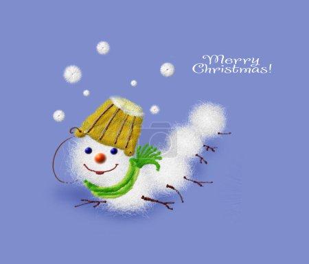 Photo pour Drôle de ver de neige avec seau sur la tête sur fond bleu, carte de vœux originale Joyeux Noël et bonne année - image libre de droit