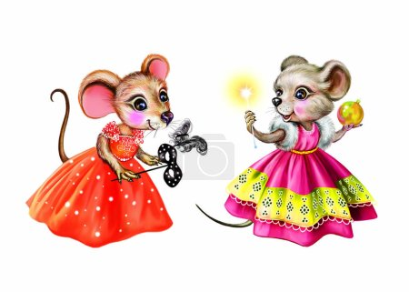 Two funny mice in Christmas costumes, with magic w...