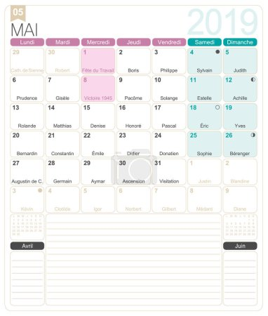 French calendar 2019 / May 2019, French printable monthly calendar template, including name days, lunar phases and official holidays.