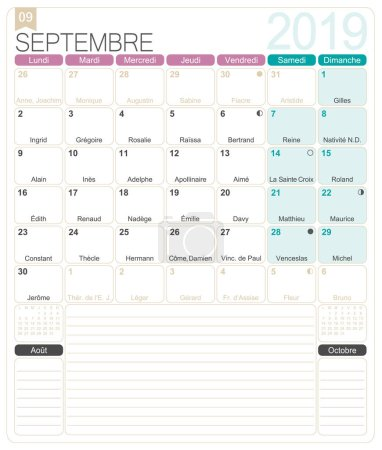 French calendar 2019 / September 2019, French printable monthly calendar template, including name days, lunar phases and official holidays.