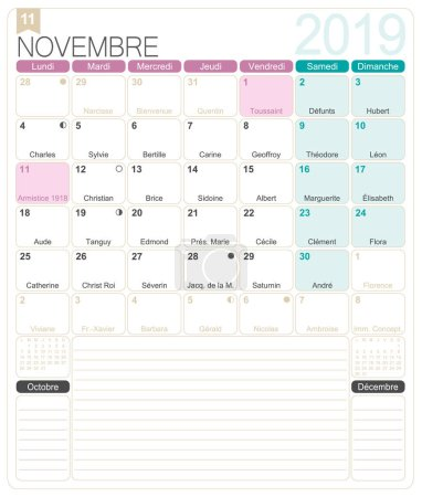 French calendar 2019 / November 2019, French printable monthly calendar template, including name days, lunar phases and official holidays.