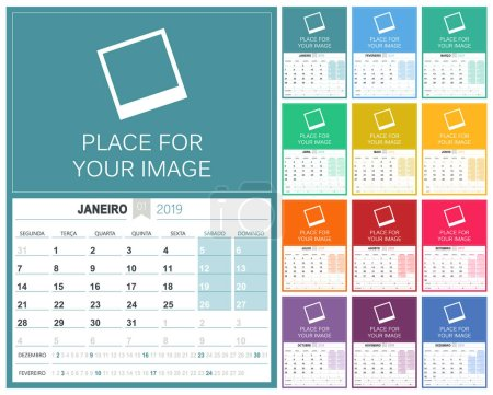 Portuguese planning calendar 2019, week starts on Monday, colorful calendar template with place for your image, vector illustration