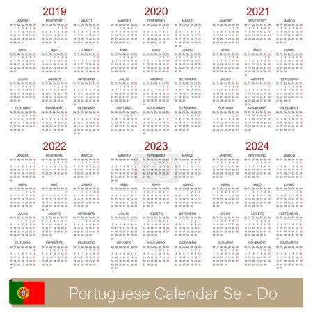 Portuguese planning calendar 2019 - 2024, week starts on Monday, simple calendar template for 2019, 2020, 2021, 2022, 2023 and 2024, printable calendar templates, vector illustration