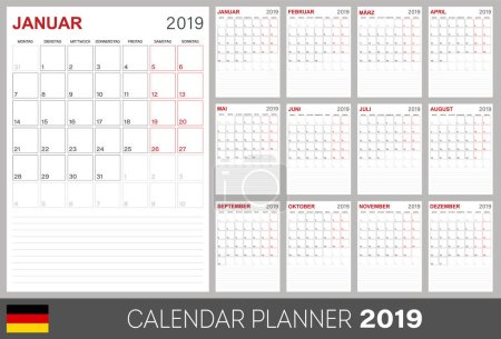 German calendar planner 2019, week starts on Monday, set of 12 months January - December, calendar template size A4, simple design on white background, set desk calendar template, vector illustration