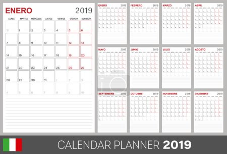 Italian calendar planner 2019, week starts on Monday, set of 12 months January - December, calendar template size A4, simple design on white background, set desk calendar template, vector illustration