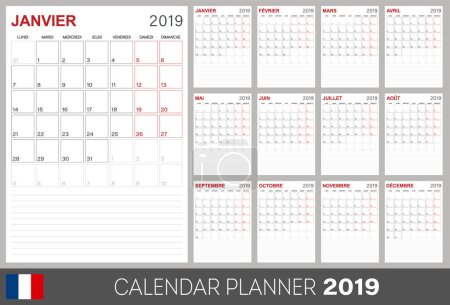 French calendar planner 2019, week starts on Monday, set of 12 months January - December, calendar template size A4, simple design on white background, set desk calendar template, vector illustration