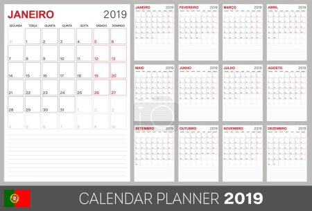 Portuguese calendar planner 2019, week starts on Monday, set of 12 months January - December, calendar template size A4, simple design on white background, set desk calendar template, vector illustration