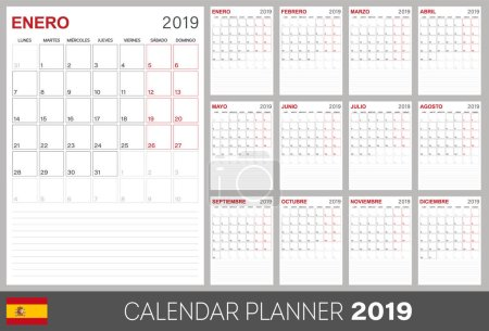 Spanish calendar planner 2019, week starts on Monday, set of 12 months January - December, calendar template size A4, simple design on white background, set desk calendar template, vector illustration