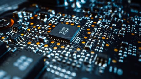 Photo for Macro Close-up Shot of Printed Circuit Board with Computer Motherboard Components: Microchip, CPU Processor, Transistors. Inside of Electronic Device. - Royalty Free Image