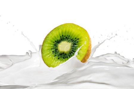 Photo for Fresh kiwi and milk with splashes on white background - Royalty Free Image