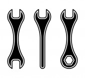 Flat linear design Crossed wrenches vector icon for applications web sites and public use - Vector