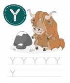 Learning to write a letter - Y A practical sheet from a set of exercises game for kids Cartoon funny animal with letter Spelling the alphabet Child development and education Yak - Vector