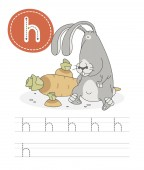 Learning to write a letter - h A practical sheet from a set of exercises game for kids Cartoon funny forest animal with letter Spelling the alphabet Child development and education Hare - Vector