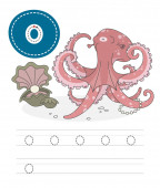 Learning to write a letter - o A practical sheet from a set of exercises game for kids Funny water inhabitant with letter Spelling the alphabet Child development and education Octopus - Vector